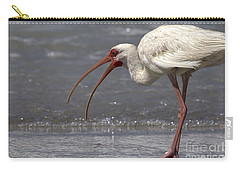 Carry-all Pouch featuring the photograph White Ibis On The Beach by Meg Rousher