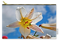White Lily Flower Against Blue Sky Art Prints Carry-all Pouch