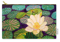 White Lotus Flower Carry-all Pouch
