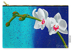 White Orchids On Blue Carry-all Pouch by Laura Forde