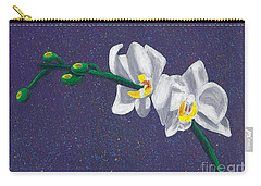 White Orchids On Dark Blue Carry-all Pouch by Laura Forde