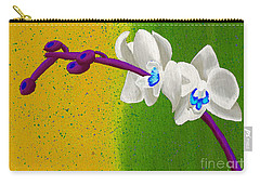 White Orchids On Yellow And Green Carry-all Pouch by Laura Forde