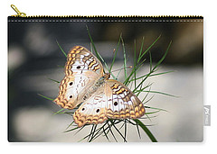 Carry-all Pouch featuring the photograph White Peacock by Karen Silvestri
