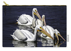 White Pelicans Fishing Carry-all Pouch by Fran Gallogly