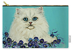 Carry-all Pouch featuring the painting White Persian In Pansy Patch Original Forsale by Bob and Nadine Johnston