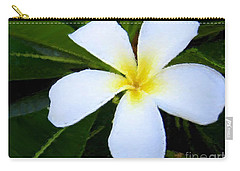 Carry-all Pouch featuring the mixed media White Plumeria by Anthony Fishburne