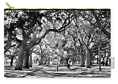 Carry-all Pouch featuring the photograph White Point Gardens At Battery Park Charleston Sc Black And White by Lisa Wooten