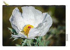 White Prickly Poppy Wildflower Carry-all Pouch by Debra Martz