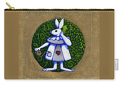 White Rabbit Wonderland Carry-all Pouch by Donna Huntriss