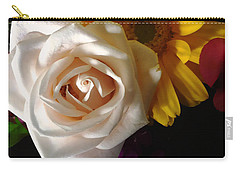 Carry-all Pouch featuring the photograph White Rose by Meghan at FireBonnet Art