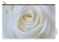 White Rose Floral Whispers Carry-all Pouch by Jennie Marie Schell