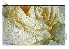 Carry-all Pouch featuring the photograph White Rose In Oil Effect by Nina Silver