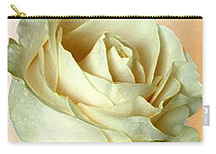 Carry-all Pouch featuring the photograph White Rose On Sepia by Nina Silver