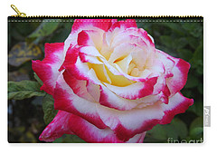 White Rose With Pink Texture Hybrid Carry-all Pouch