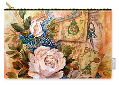 White Roses And Forget Me Nots On Decoupaged Background Carry-all Pouch