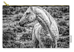 White Stallion Watching Carry-all Pouch by Joan Davis