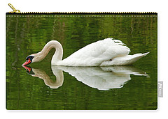 Carry-all Pouch featuring the photograph Graceful White Swan Heart  by Jerry Cowart