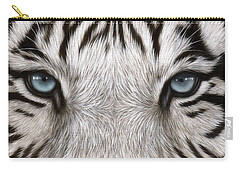 White Tiger Eyes Painting Carry-all Pouch by Rachel Stribbling