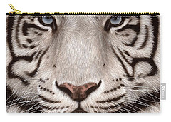 White Tiger Painting Carry-all Pouch by Rachel Stribbling