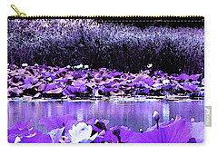 Carry-all Pouch featuring the photograph White Water Lotus In Violet by Shawna Rowe