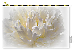 White Peony With A Dash Of Yellow Carry-all Pouch by Sherman Perry
