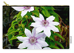 White With Purple Flowers 2 Carry-all Pouch