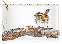 Whitethroated Sparrow On Snow-dusted Tree Branch Digital Art Carry-all Pouch