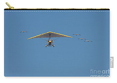 Carry-all Pouch featuring the photograph Whooping Cranes And Operation Migration Ultralight by Paul Rebmann
