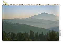 Wide Panorama With Mountains At Sunset In Late November Carry-all Pouch