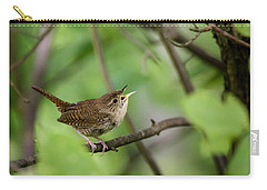 Wild Birds - House Wren Carry-all Pouch by Christina Rollo