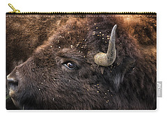 Carry-all Pouch featuring the photograph Wild Eye - Bison - Yellowstone by Belinda Greb