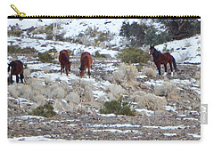 Wild Mustangs In A Nevada Winter Carry-all Pouch by Bobbee Rickard