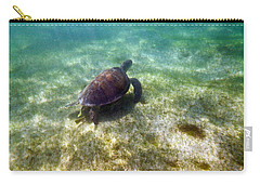 Carry-all Pouch featuring the photograph Wild Sea Turtle Underwater by Eti Reid