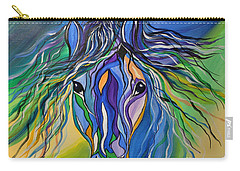 Carry-all Pouch featuring the painting Willow The War Horse by Janice Rae Pariza