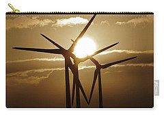 Wind Turbines Silhouette Against A Sunset Carry-all Pouch