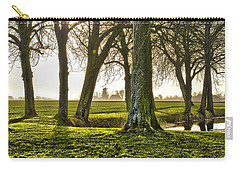 Carry-all Pouch featuring the photograph Windmill And Trees In Groningen by Frans Blok