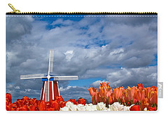 Windmill And Tulips Carry-all Pouch by Patricia Davidson