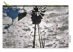 Carry-all Pouch featuring the digital art Windmill In The Clouds by Cathy Anderson