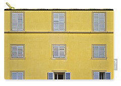 Windows Of Florence Against A Faded Yellow Plaster Wall Carry-all Pouch