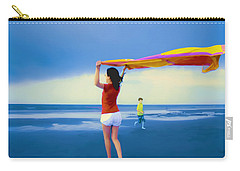 Children Playing On The Beach Carry-all Pouch