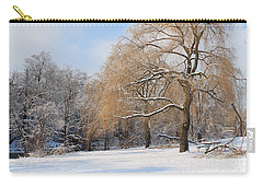 Carry-all Pouch featuring the photograph Winter Along The River by Nina Silver