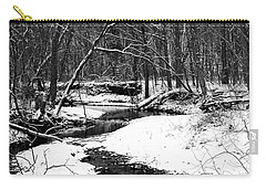 Carry-all Pouch featuring the photograph Winter At Pedelo Black And White by Deena Stoddard