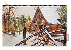 Winter - Barn - Snow In Nevada Carry-all Pouch by Jan Dappen
