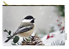 Carry-all Pouch featuring the photograph Winter Chickadee by Christina Rollo