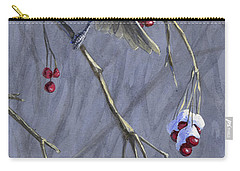 Winter Harvest 1 Chickadee Painting Carry-all Pouch