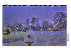 Winter In Boston - George Washington Monument - Boston Public Garden Carry-all Pouch by Joann Vitali