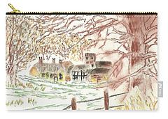 Winter In The Village Carry-all Pouch by Tracey Williams
