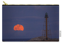 Winter Moon Rising Over Marblehead Light Carry-all Pouch