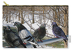 Winter Pigeon Party Carry-all Pouch