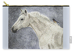Carry-all Pouch featuring the painting Winter Rider by Angela Davies